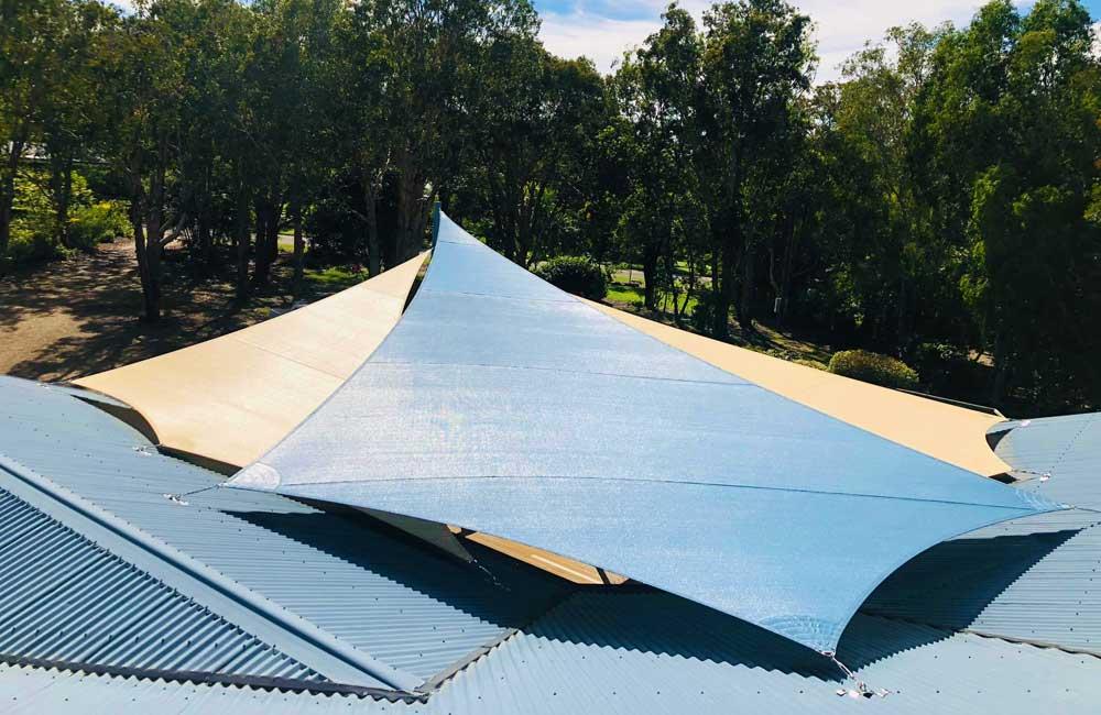 Kite shaped shade sails