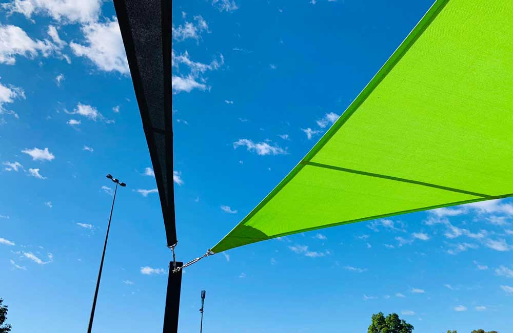 Lime and Charcoal Shade Sails